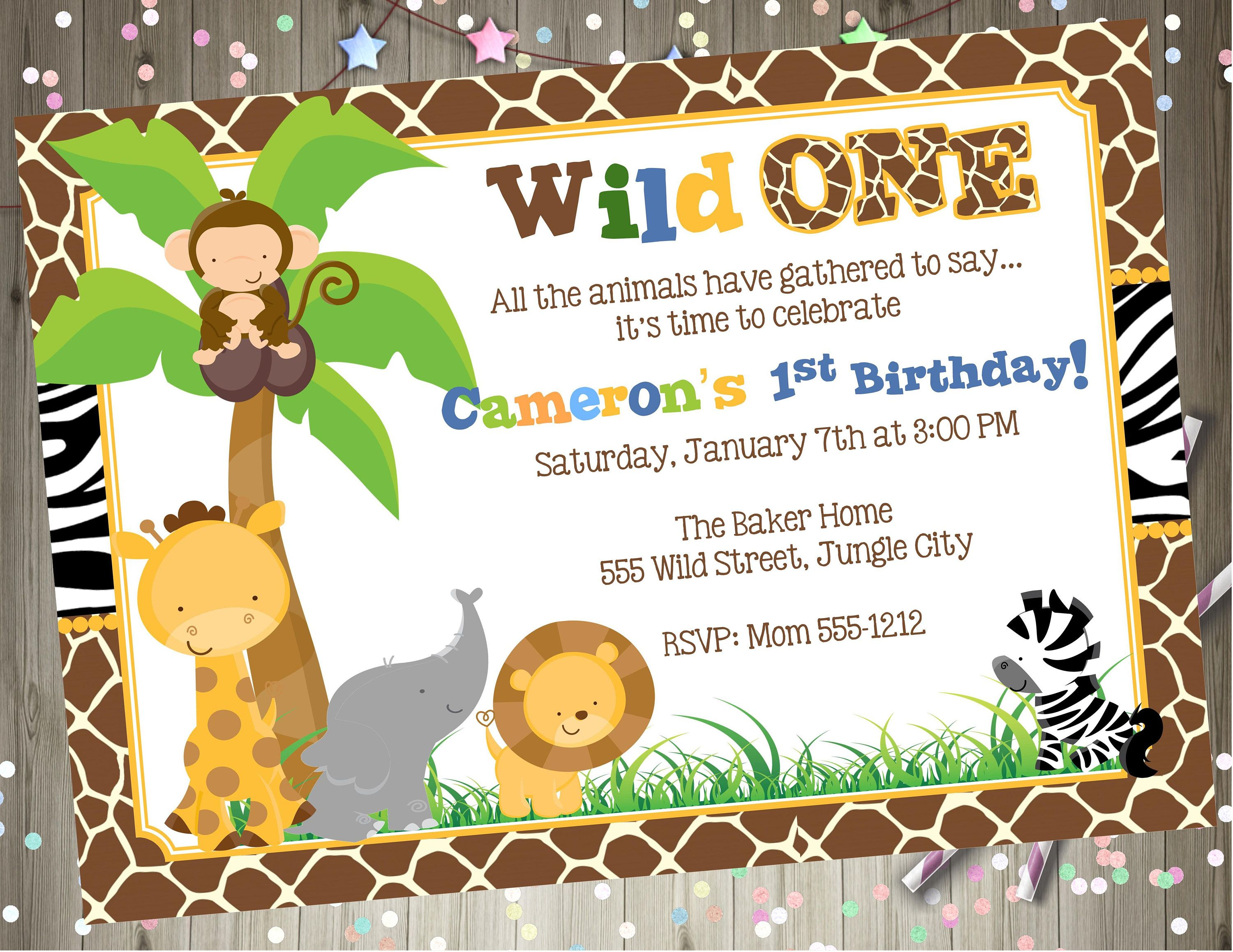 Wild One safari animals Birthday Invitation 1st birthday Invite ...