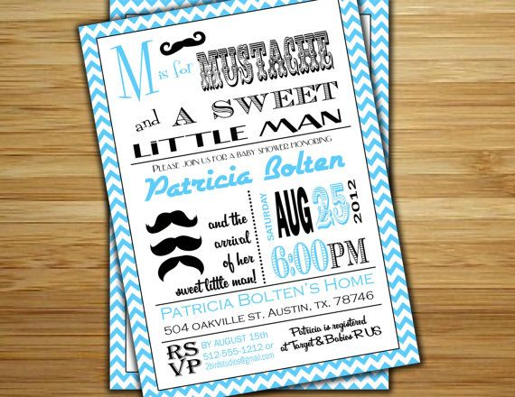 Mustache Baby Shower Invitation Little Man Mustache Boy Baby