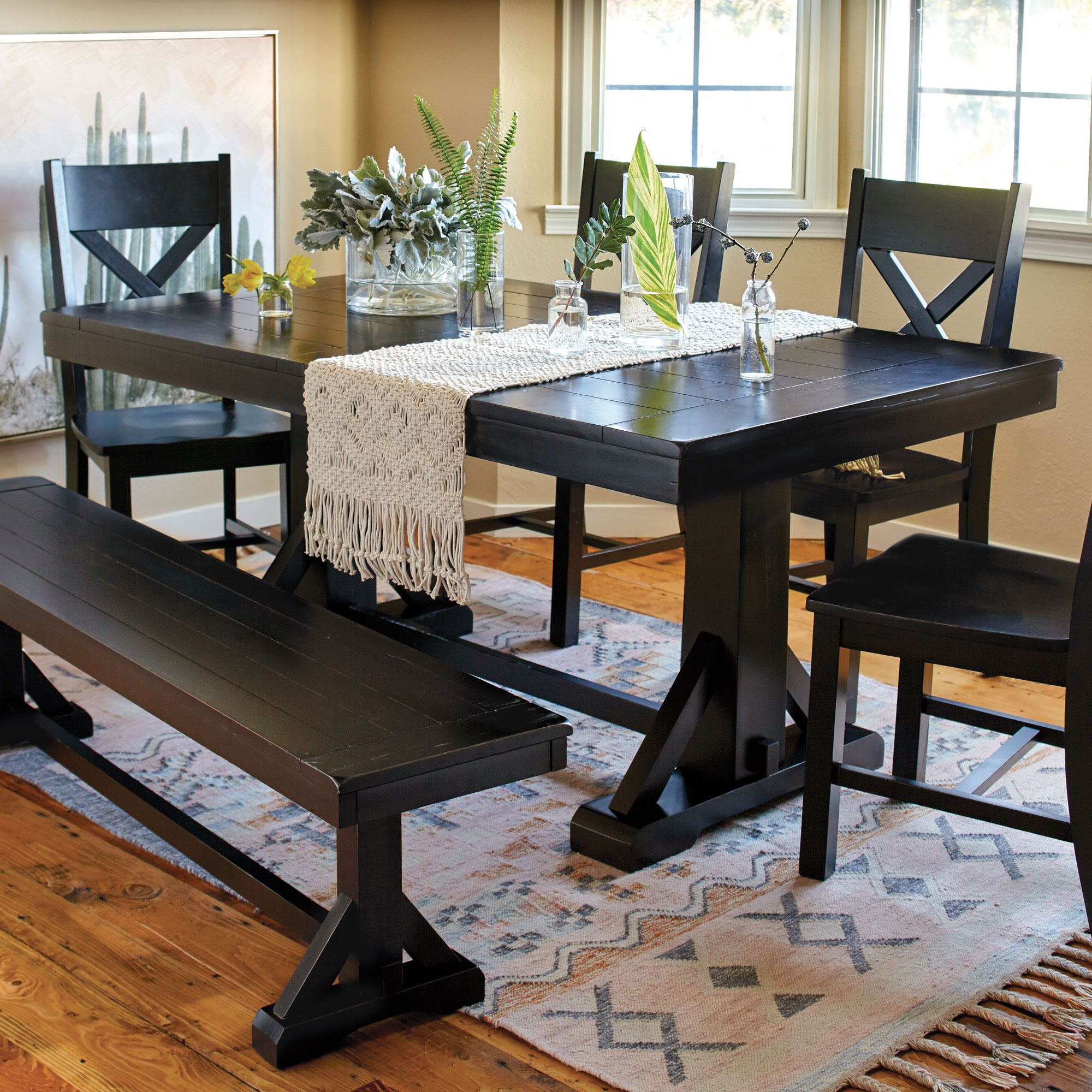 Our classic antique black verona dining collection features distressed finish and looks like it was discovered in a farmhouse in the italian countryside