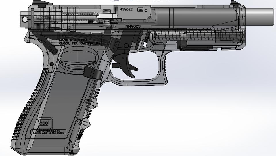Glock 17 full auto conversion - STEP / IGES - 3D CAD model - GrabCAD