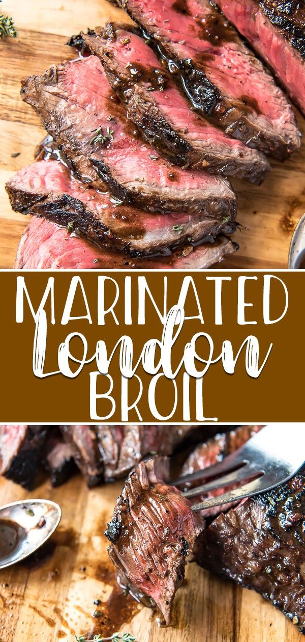 The secret to this insanely flavorful and tender Marinated London Broil is all in the timing! A day's worth of soaking in a simple balsamic-wine marinade rewards you with a delicious dinner that's versatile and ready in no time. #crumbykitchen #beef #steak #londonbroil #marinade #dinnerrecipes #dinner #dinnerideas #beefsteakrecipe