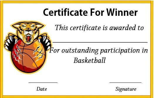 basketball winner certificate basketball certificate template