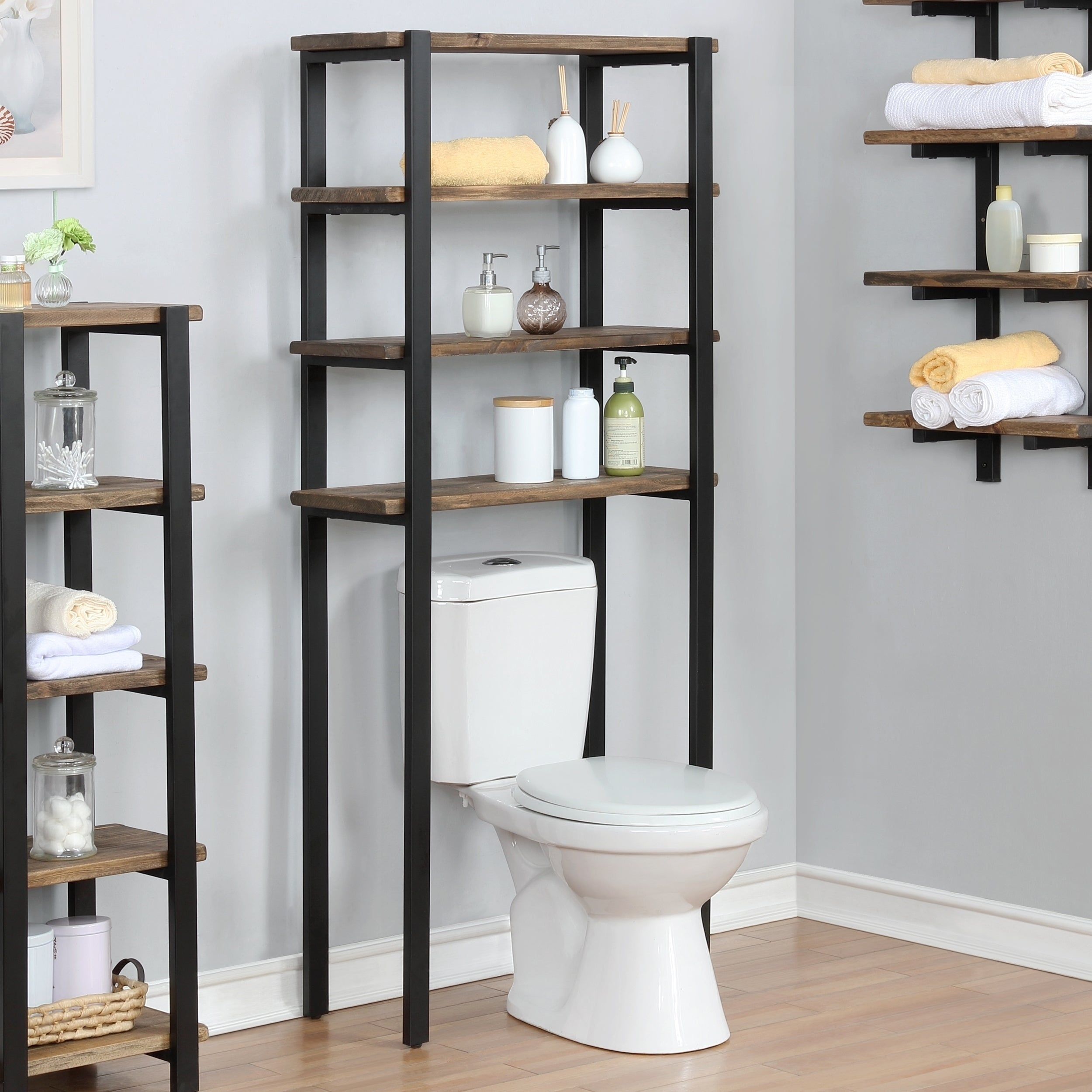 Carbon Loft Lawrence 64 Inch Over The Toilet 4 Shelf Bath Storage Brown Toilet Storage Bath Storage Diy Bathroom Decor