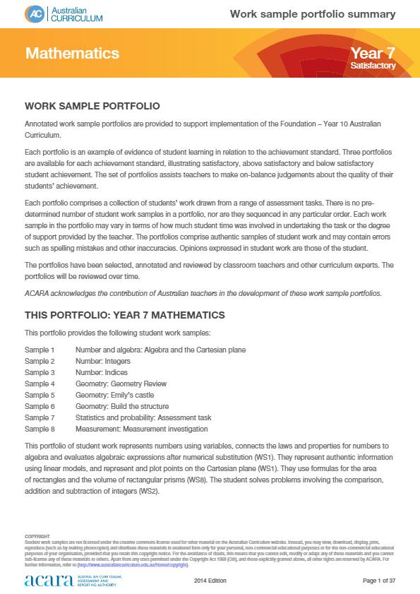 Year 7 Mathematics work sample portfolio - satisfactory