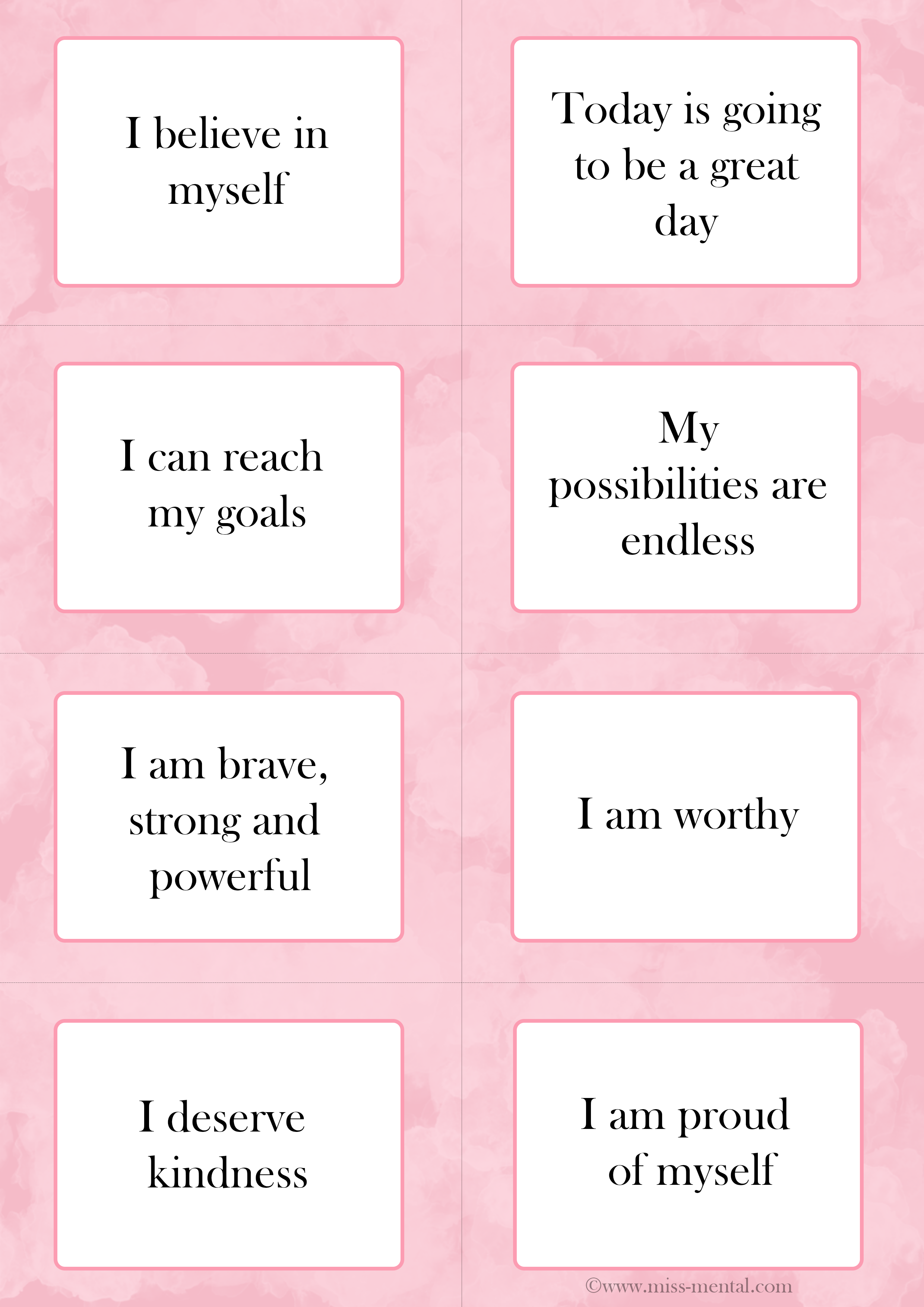 50 Positive Affirmations With Helpful Free Affirmation