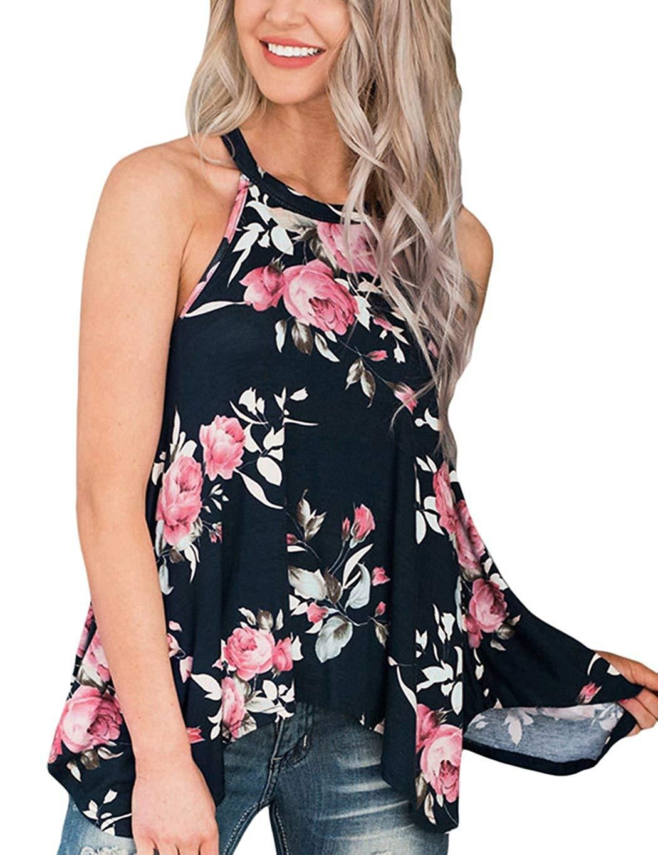 7b696695196 Womens High Neck Floral Tank Tops Flowy Halter Top Cami Shirt Casual  Sleeveless Blouse
