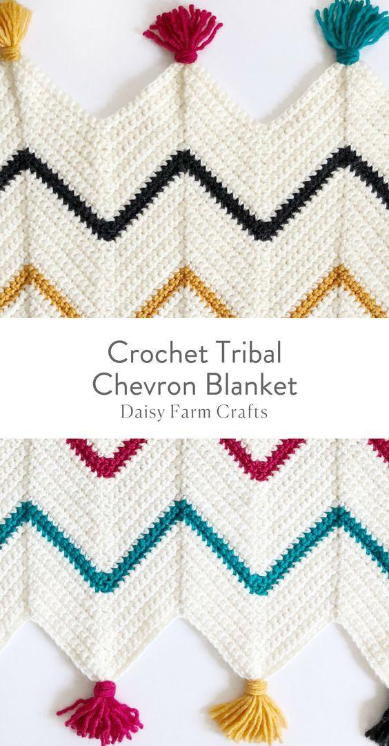 Free Pattern - Crochet Tribal Chevron Blanket #crochetpattern ...
