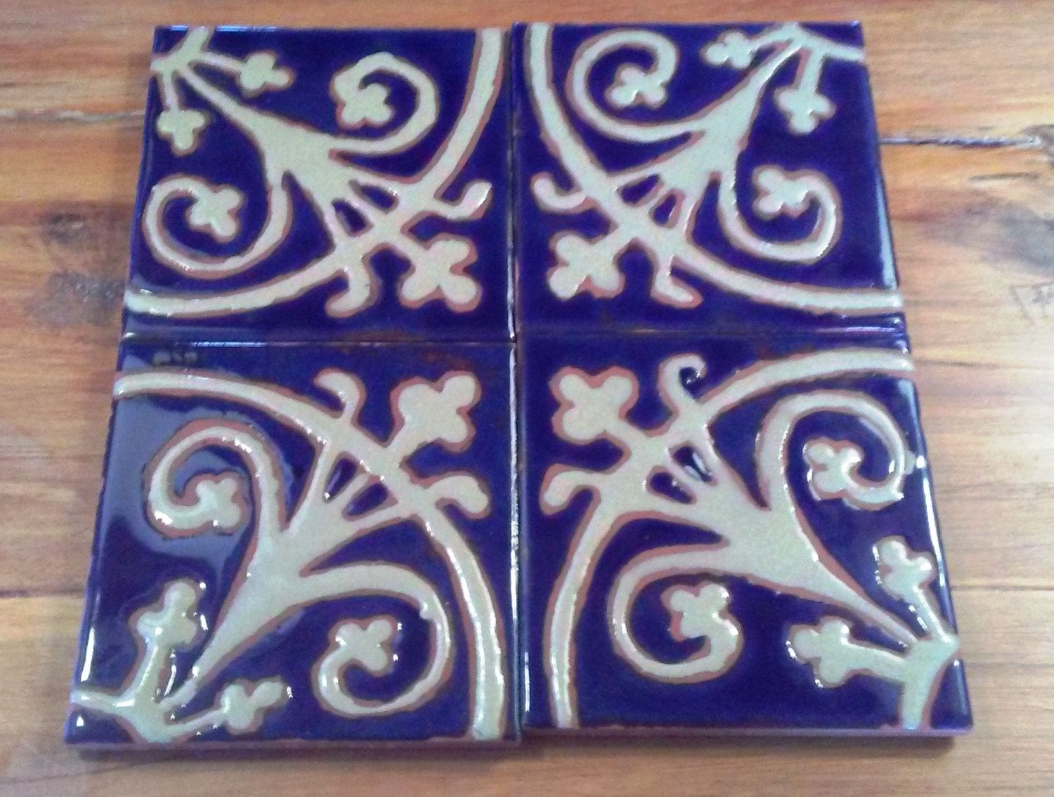 Tile coasters by lois wagner victorian blue and tan set by