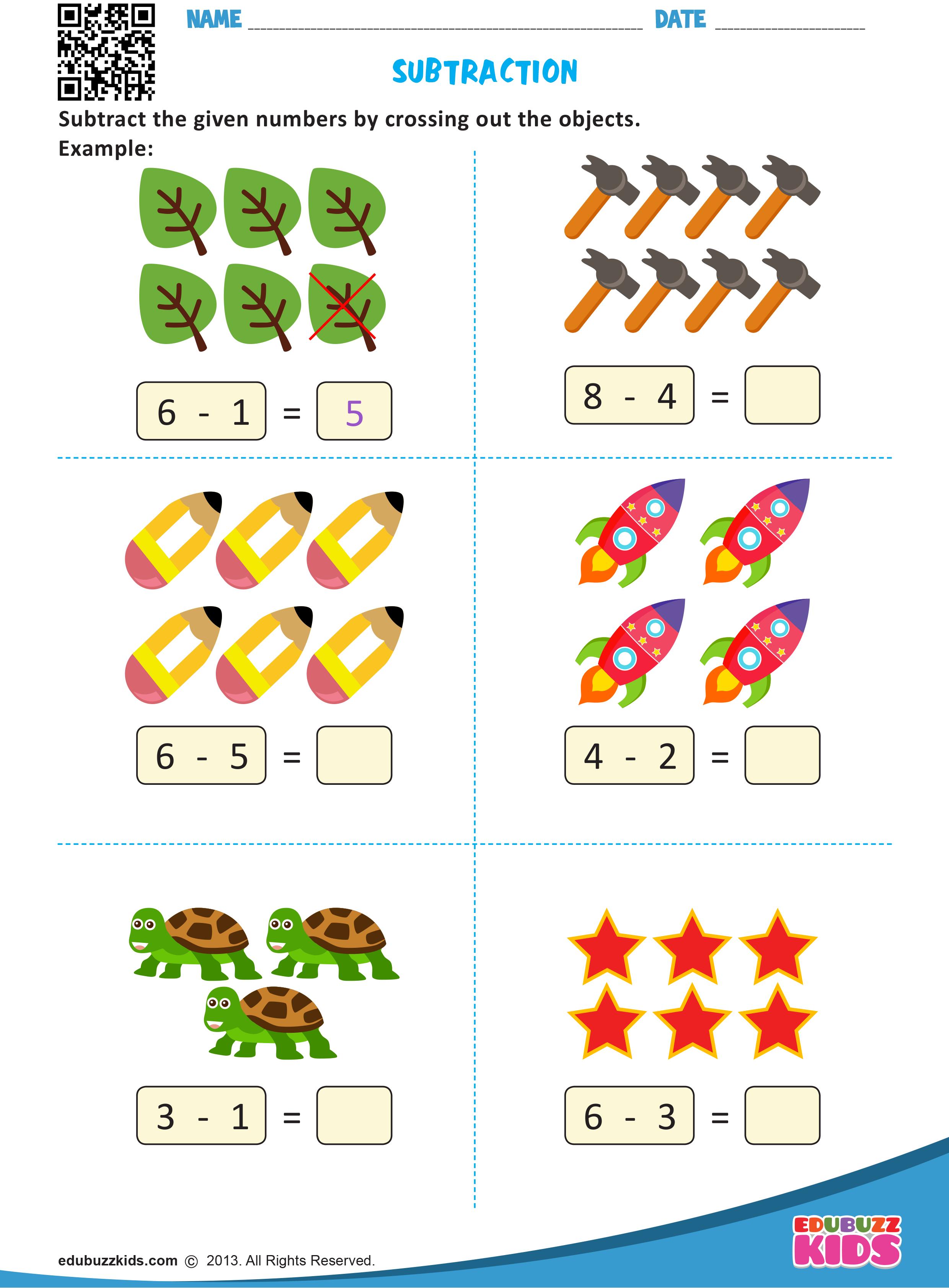 Kindergarten Math Subtraction Worksheets That Allow Kids