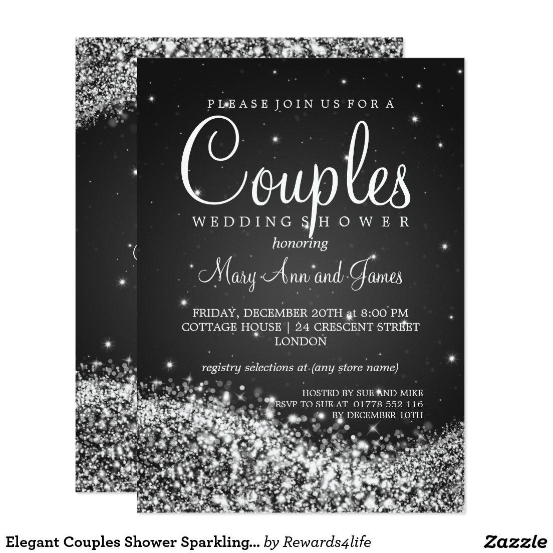Elegant Couples Shower Sparkling Wave Black Card