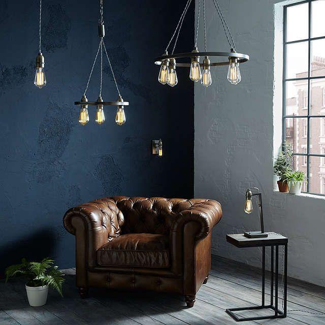 John Lewis Partners Bistro Hoop Pendant Ceiling Light 6 Light Pewter Living Room Lighting Ceiling Lights Lounge Lighting