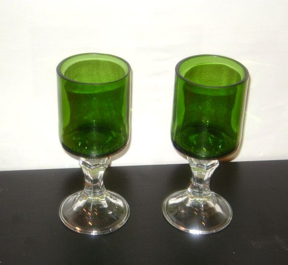 re-purposed wine bottles and glass candlesticks