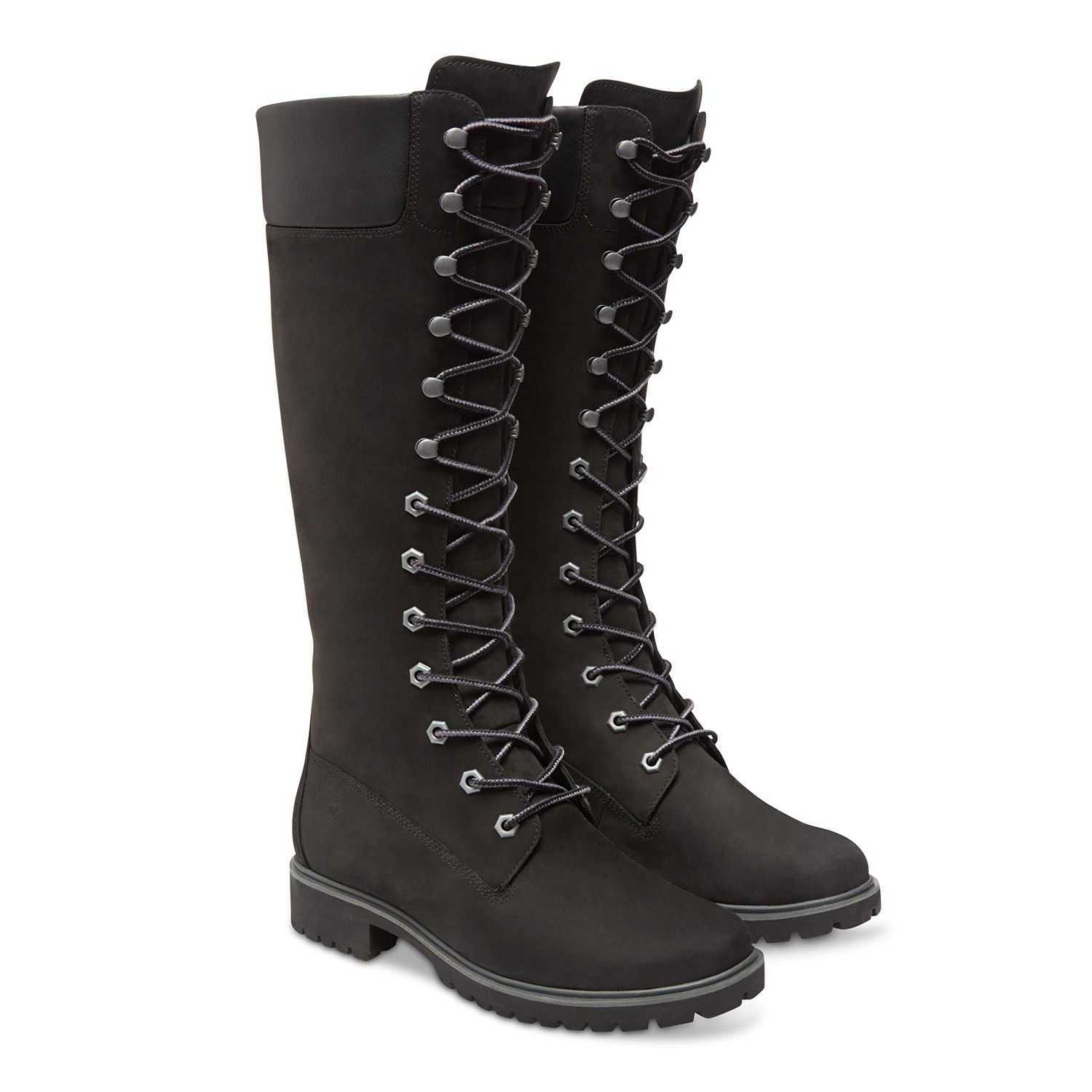 Latest Timberland Black Nubuck 14-Inch Lace-Up Leather Boots for Women Online Sale