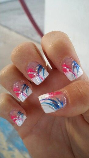 French With Pink And Blue Design Nail Designs French Tip Nails White Tip Nails