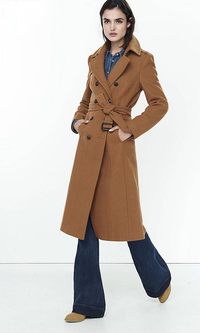 Express - Brown Wool Blend Long Trench Coat