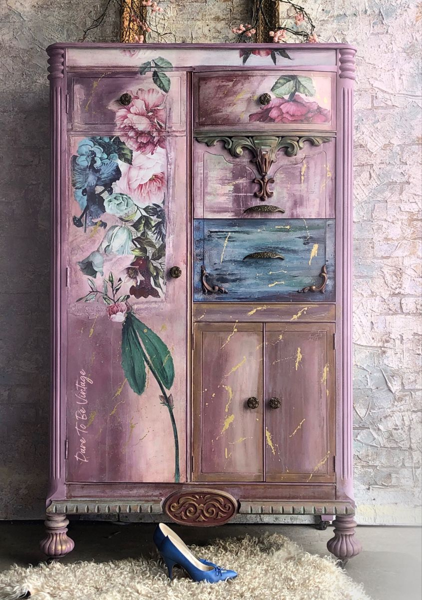 Miss Flirty Flower Created By Dare To Be Vintage Painted Armoire Vintage Hand Painted Furniture Hand Painting Art