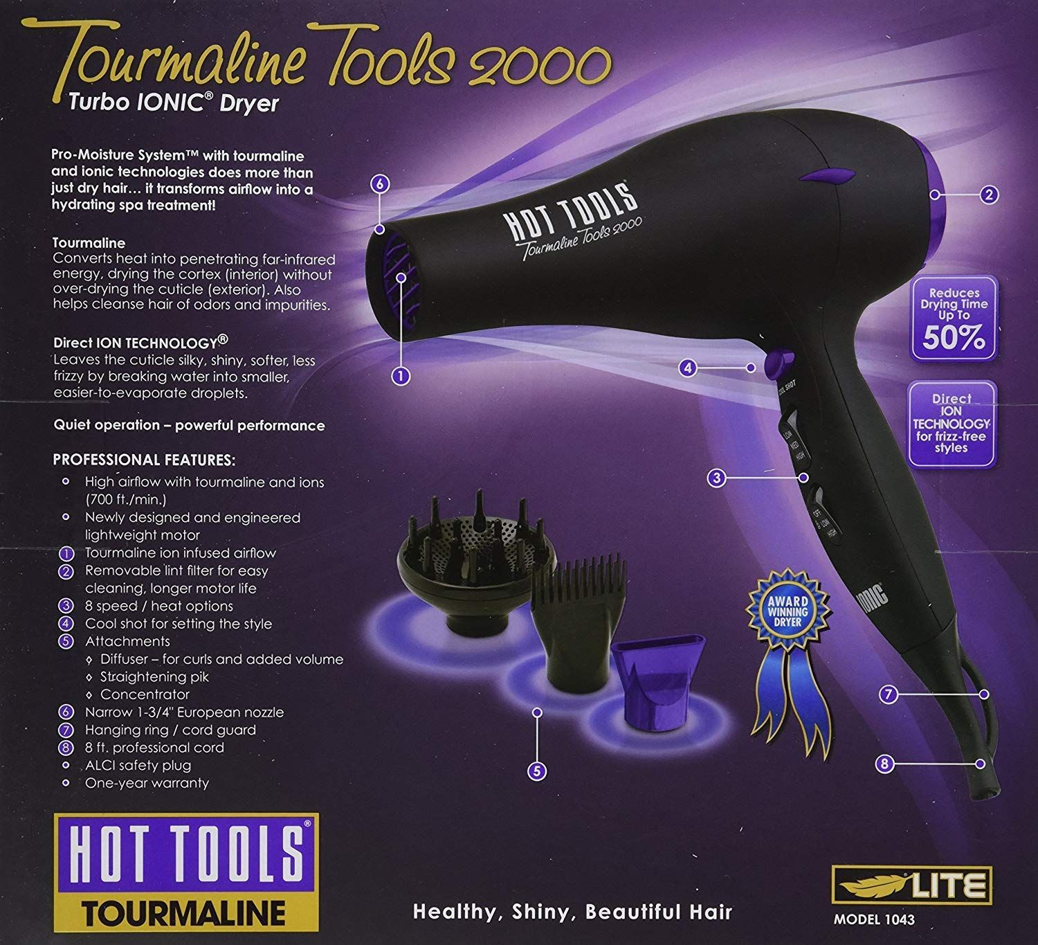 d18f5d7b4cab Helen of Troy- Hot Tools Tourmaline Ionic Professional Hair Dryer 1875 Watt  (Model 1043)     Sincerely hope you actually do love the picture.