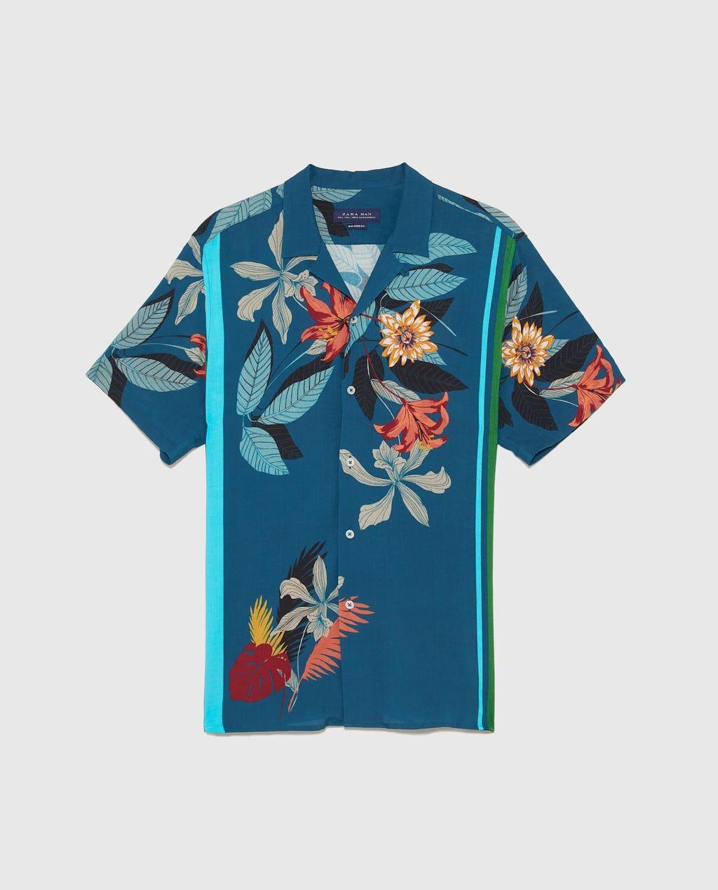 Luzna Koszula W Kwiaty Z Nadrukiem Koszule Mezczyzna Zara Polska Aloha Clothing Shirt Pattern Caribbean Outfits