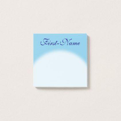 Plain Basic Sky Blue Background Blue Name Post-it Notes - simple - basic blue background