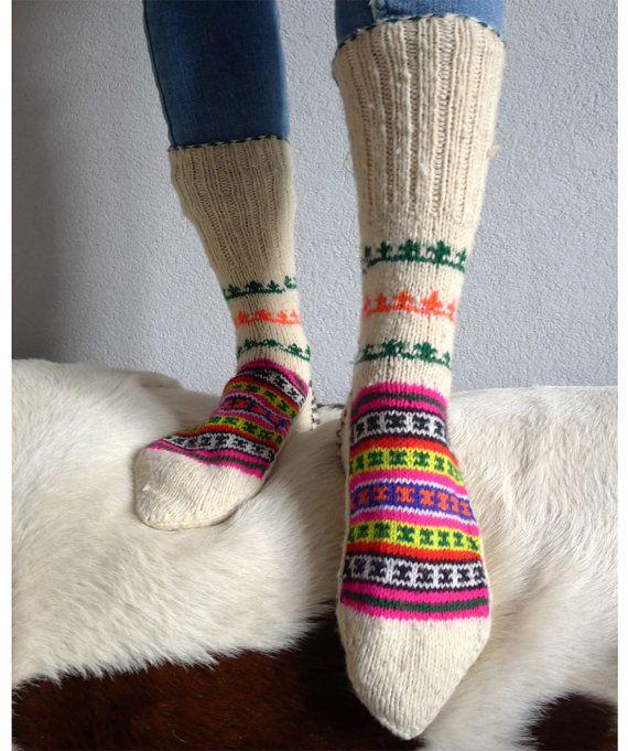 Crochet Hand knitted wool socks bolivian pattern by madeinkrakow ...