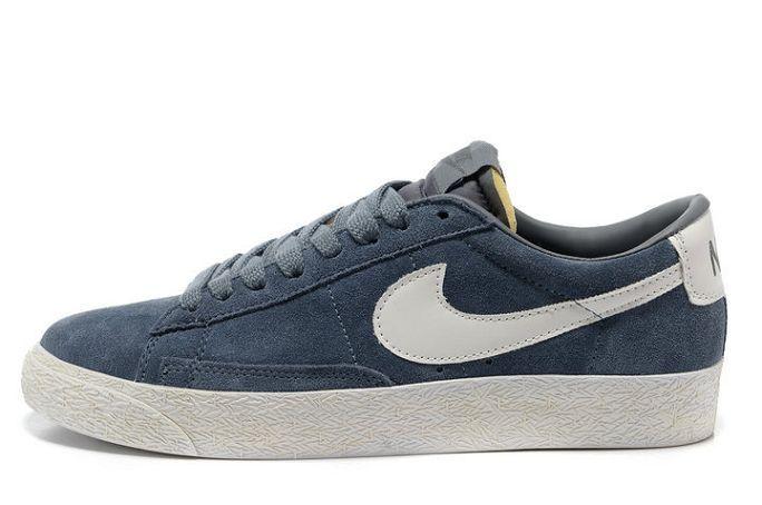 Nike Blazer Basse Homme Premium Vintage Daim Gris Blanc ...