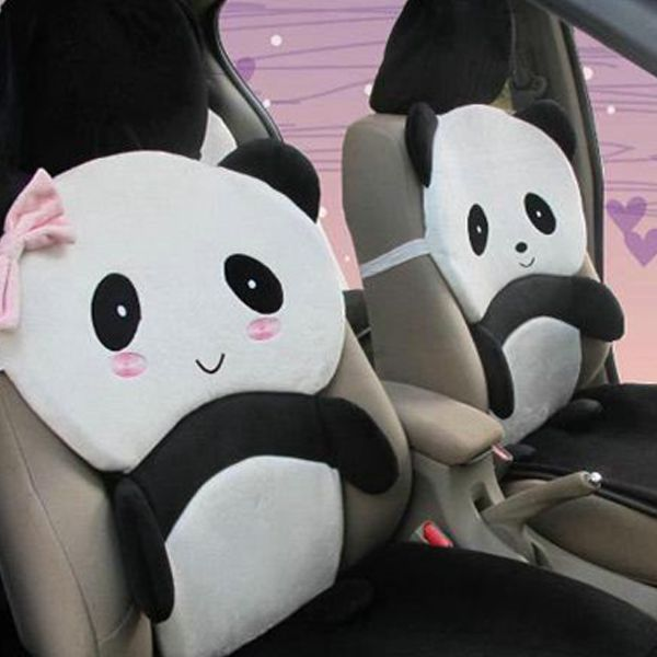 A Set Panda Car Seat Cover Soft Cartoon Stereo Winter Warm Cushion