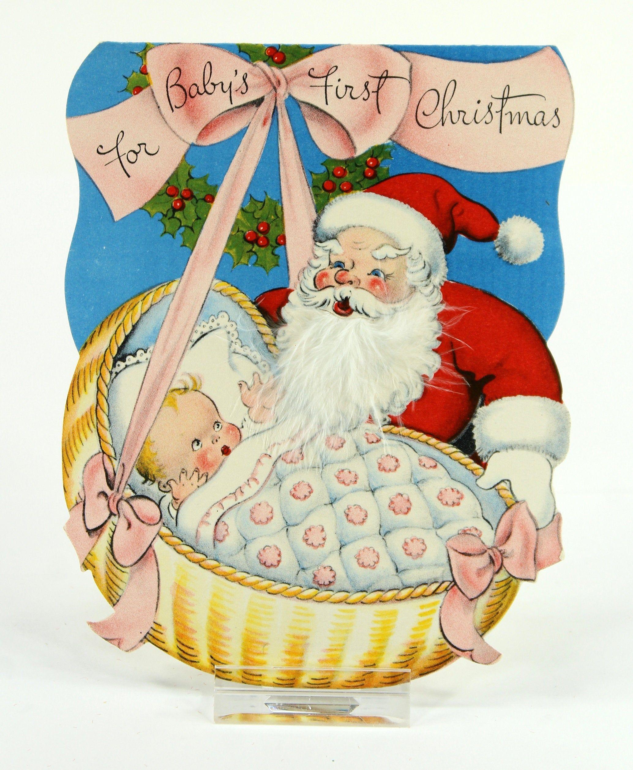 Vintage Feather Beard Santa Christmas Card, Baby's First ...