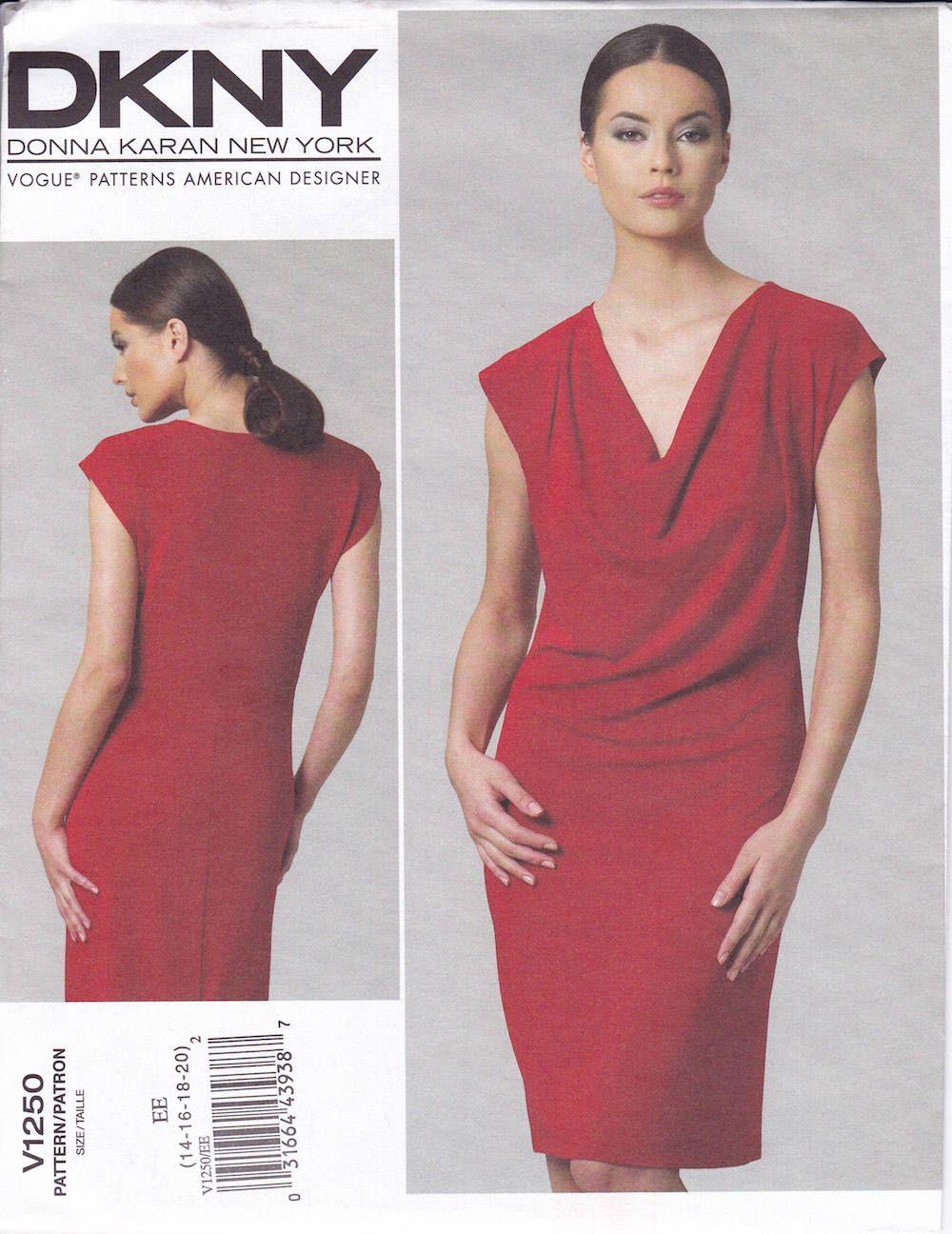 FREE Us SHIP Vogue 1250 Designer DKNY Donna KaranV Draped Dress Size ...