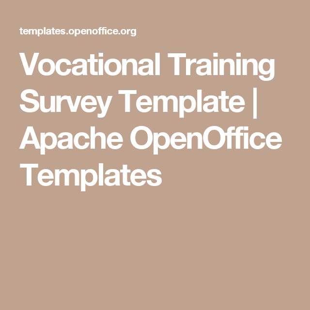 Vocational Training Survey Template  Apache Openoffice Templates