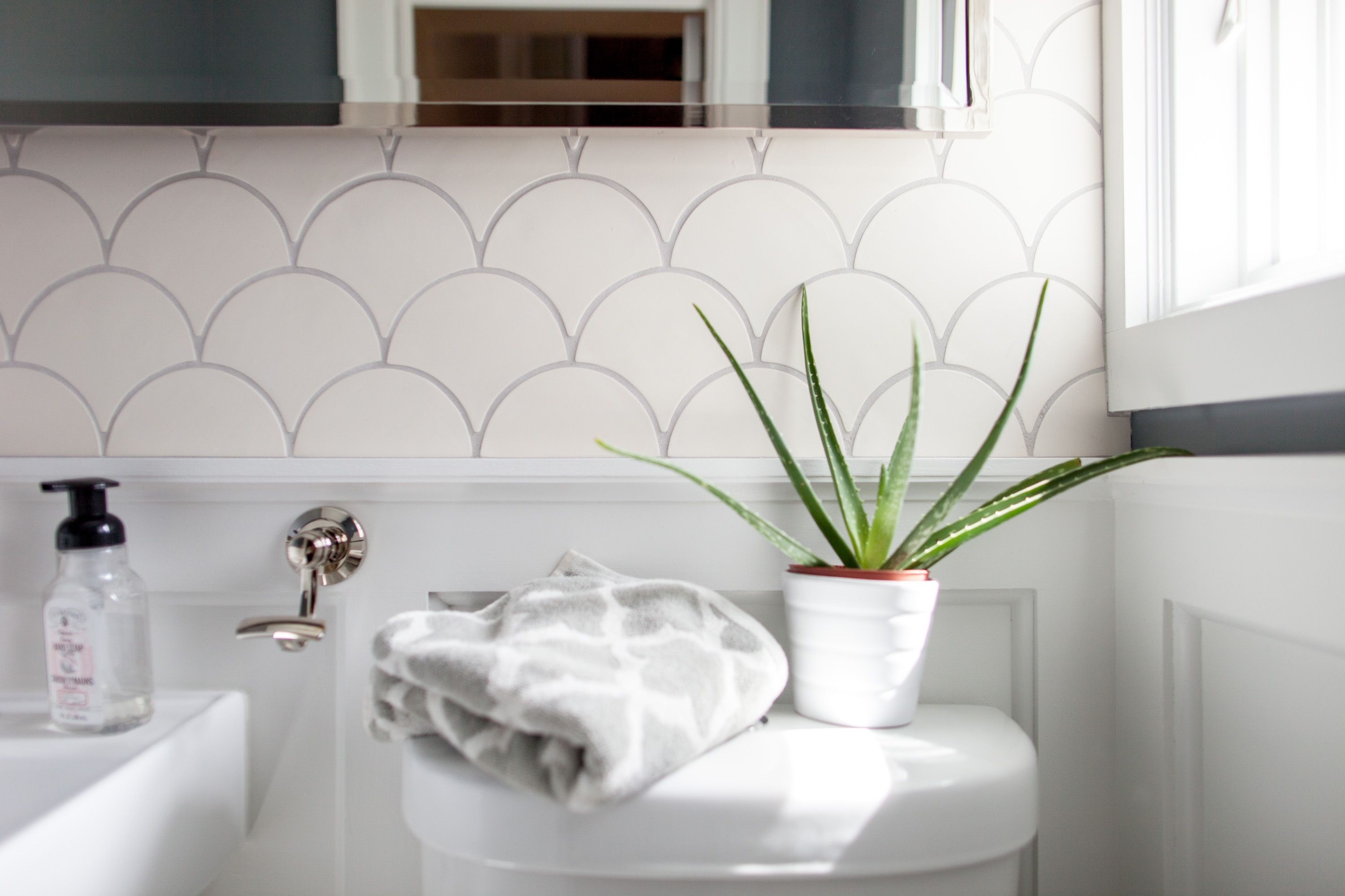 White Modern Morocco Bathroom | Fish scale tile, Moroccan and Morocco