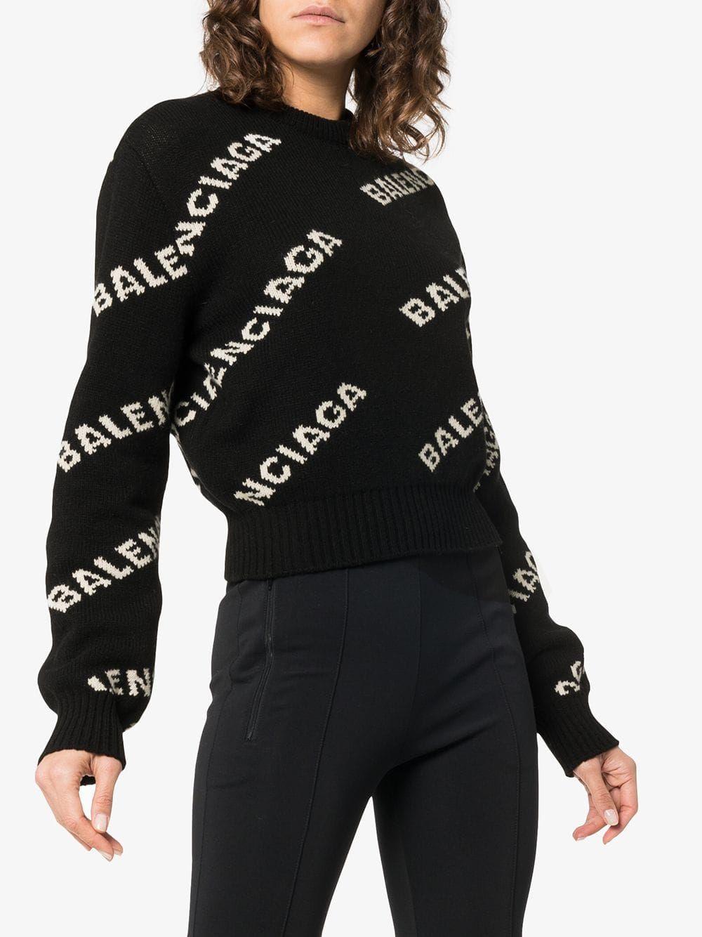 f269a8b5b1b Jacquard logo wool blend jumper   Balenciaga   Wool blend, Sweaters ...