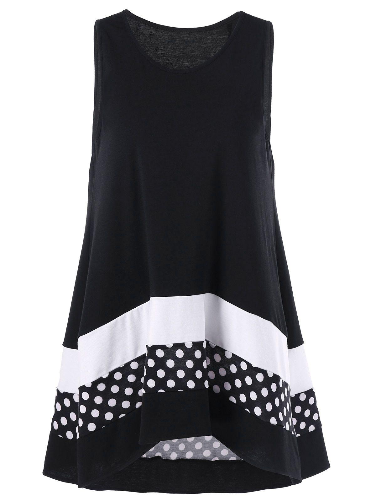 654499cf2183dc Plus Size Polka Dot Sleeveless Tunic Top