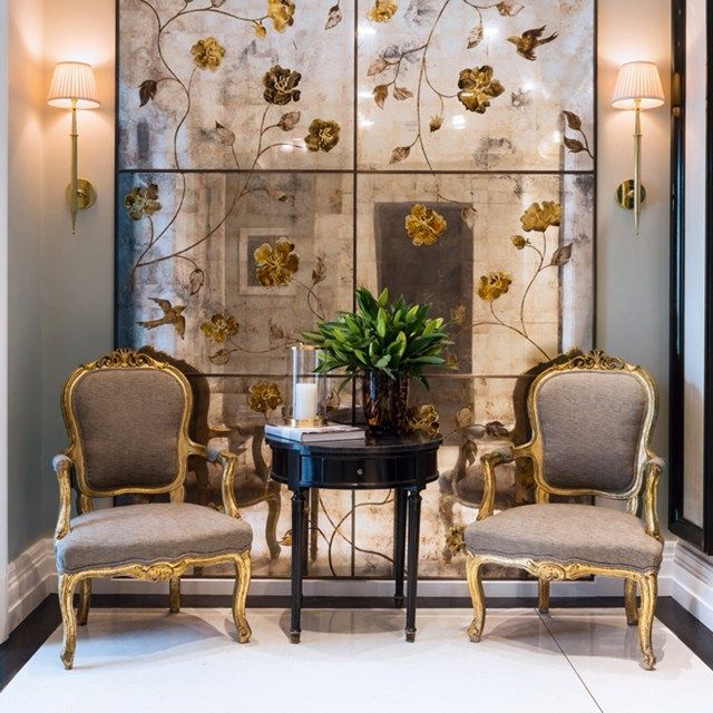 image result for antiqued mirror panel wall in modern interiors