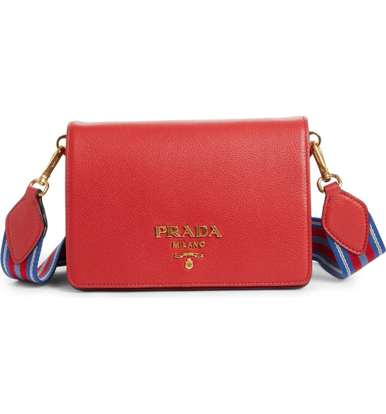 87de15f38c4c Free shipping and returns on Prada Vitello Daino Double Compartment Leather  Shoulder Bag at Nordstrom.
