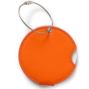 Luggage Tag Pleather Orange