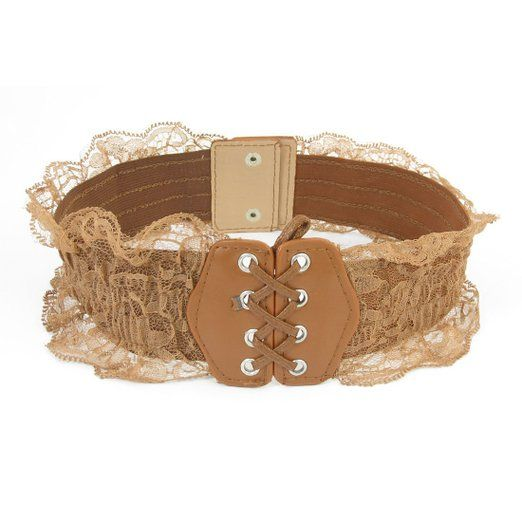 Woman Press Buckle Lace Embellish Edges Stretch Cinch Belt Waistbelt at Amazon Women's Clothing store: Apparel Belts