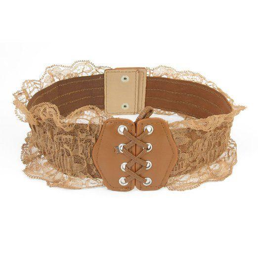 Woman Press Buckle Lace Embellish Edges Stretch Cinch Belt Waistbelt at Amazon Women's Clothing store: Apparel Belts
