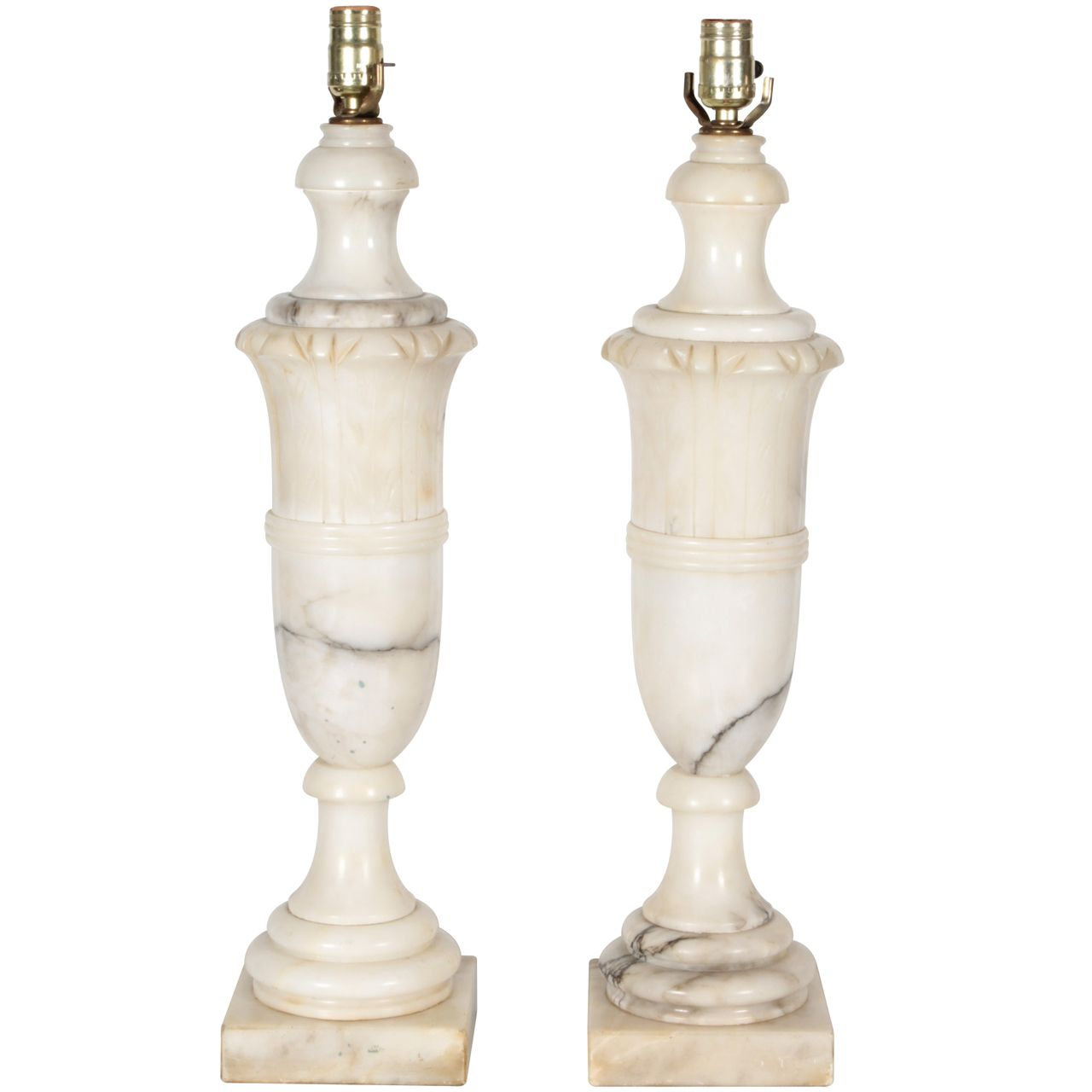 Pair Carved Marble 1940 S Table Lamps 1stdibs Com Alabaster Lamp Vintage Table Lamp Antiques