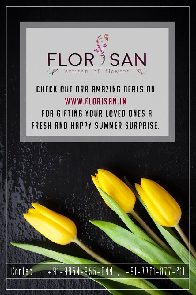 Bright and beautiful flowers can make anyone's day special. Now make everyday special with amazing deals only on Florisan. Visit on: http://florisan.in/ #Gifts #Florisan #Flowers #Cakes