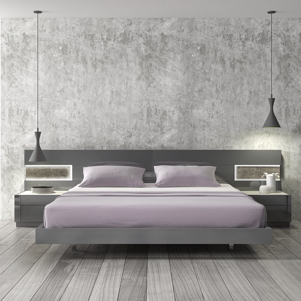Braga Grey Lacquer Wood Contemporary Platform Bed By J M