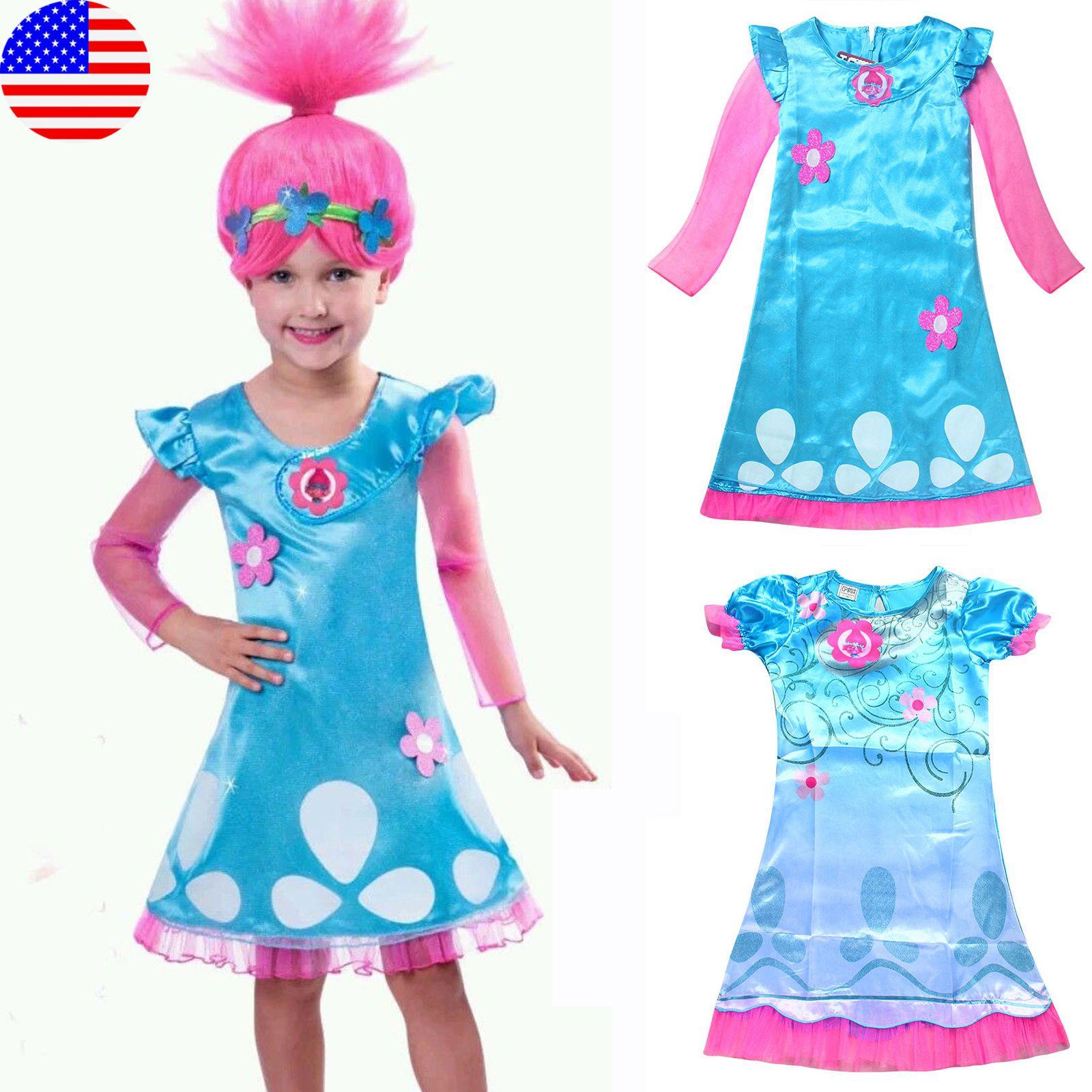 Kids Girl Fancy Dress Wig Trolls Poppy Costume Children Cosplay ...