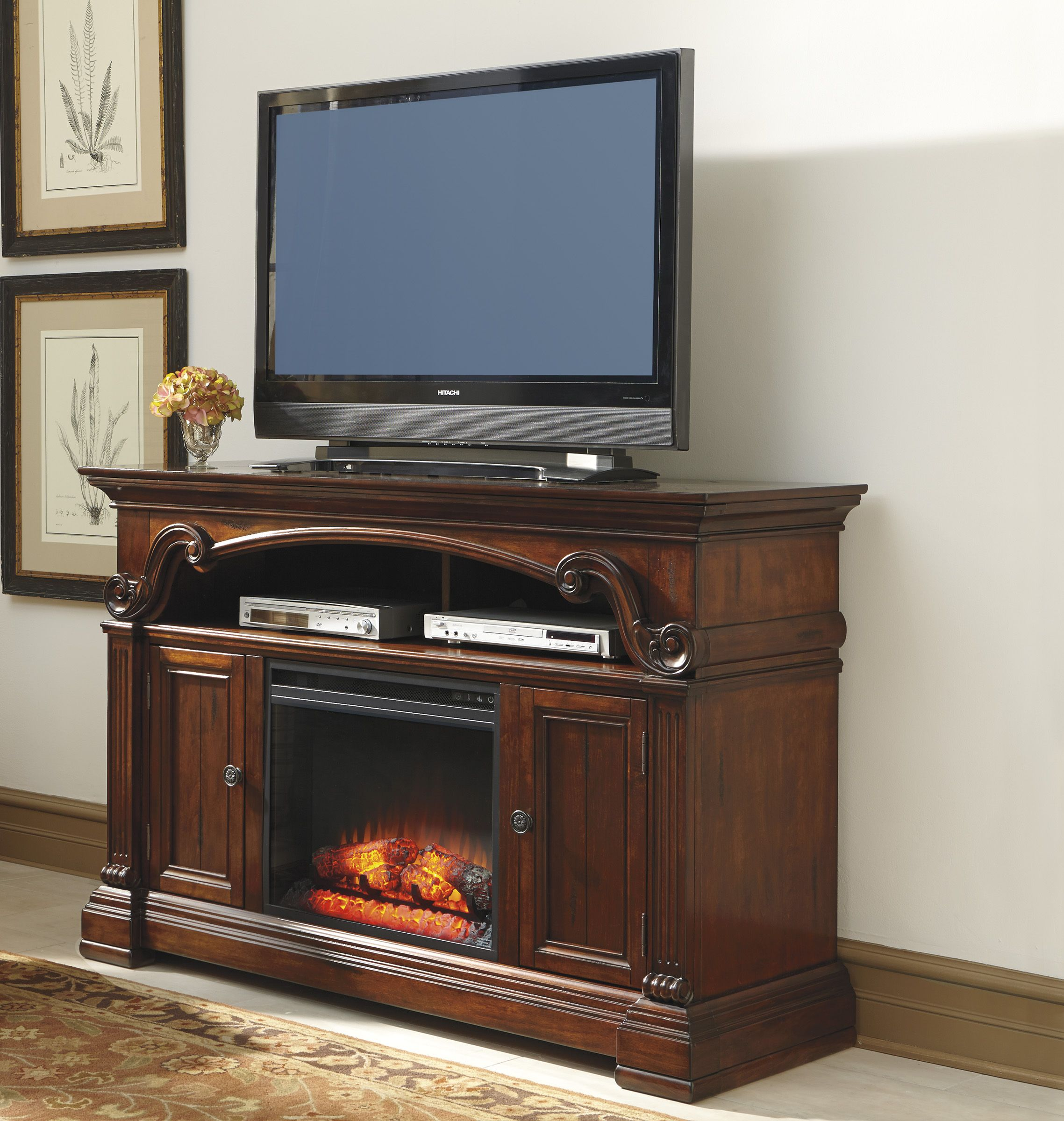 Gaston 60 Tv Stand With Fireplace By Ashley At Crowley Furniture In