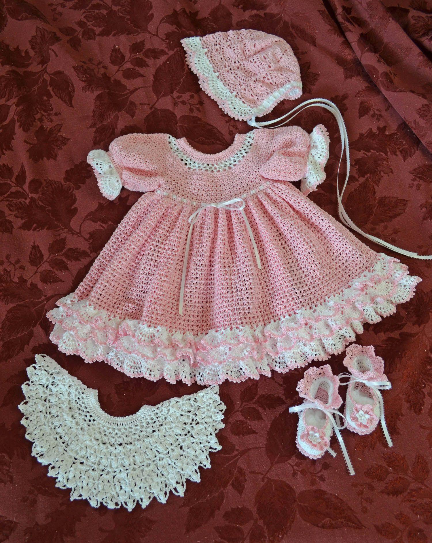 Colorful combination set of baby dress, detachable collar, bonnet ...