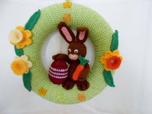 Photo of Crochet door wreath // crochet Easter bunny // DIY