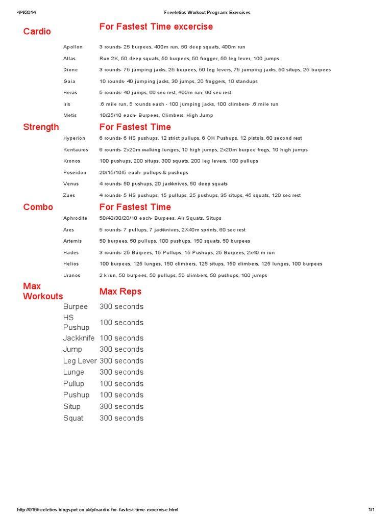 4 4 2014freeletics Workout Program Exercises Cardio Apollon Atlas Dione Gaia Heras Iris Metis For Fastes Sesiones De Ejercicio Ejercicios De Cardio Ejercicios