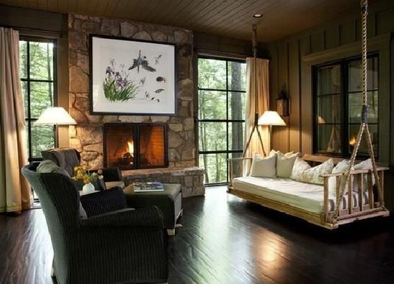 Merveilleux Spacious Living Room With A Beautiful Stone Fireplace And An Indoor Sofa  Swing!