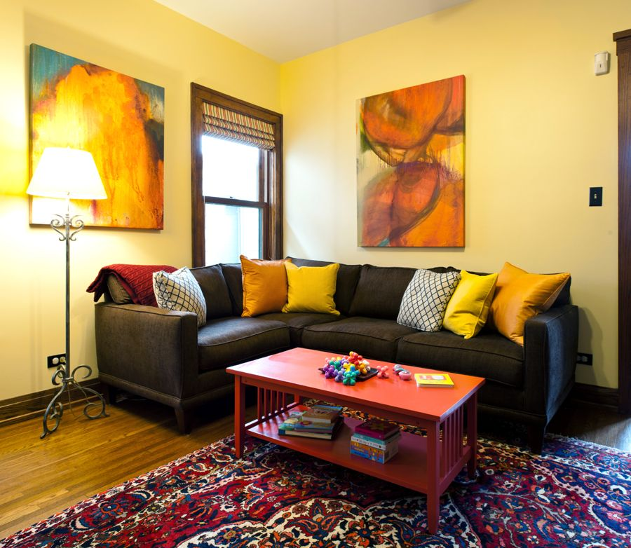 contemporary living room yellow walls with other warm