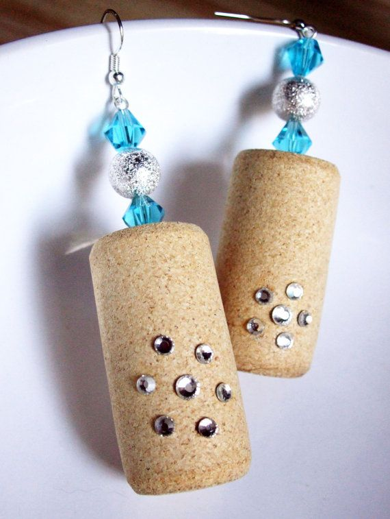 Sparkling Stars :: Handmade wood wine cork dangle earrings featuring clear Swarovski Elements rhinestones, aqua blue bicone crystals, and silver plated stardust beads.  https://www.etsy.com/listing/210159953/aqua-blue-bicone-crystals-silver-rounds?ref=listing-shop-header-2
