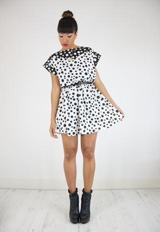 Vintage 80s Black & White Polka Dot Dress