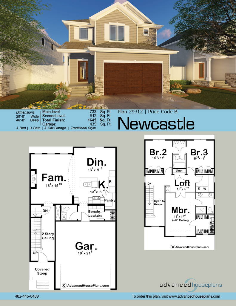 2 Story Traditional House Plan Newcastle Narrow Lot House Plans Narrow House Plans House Blueprints